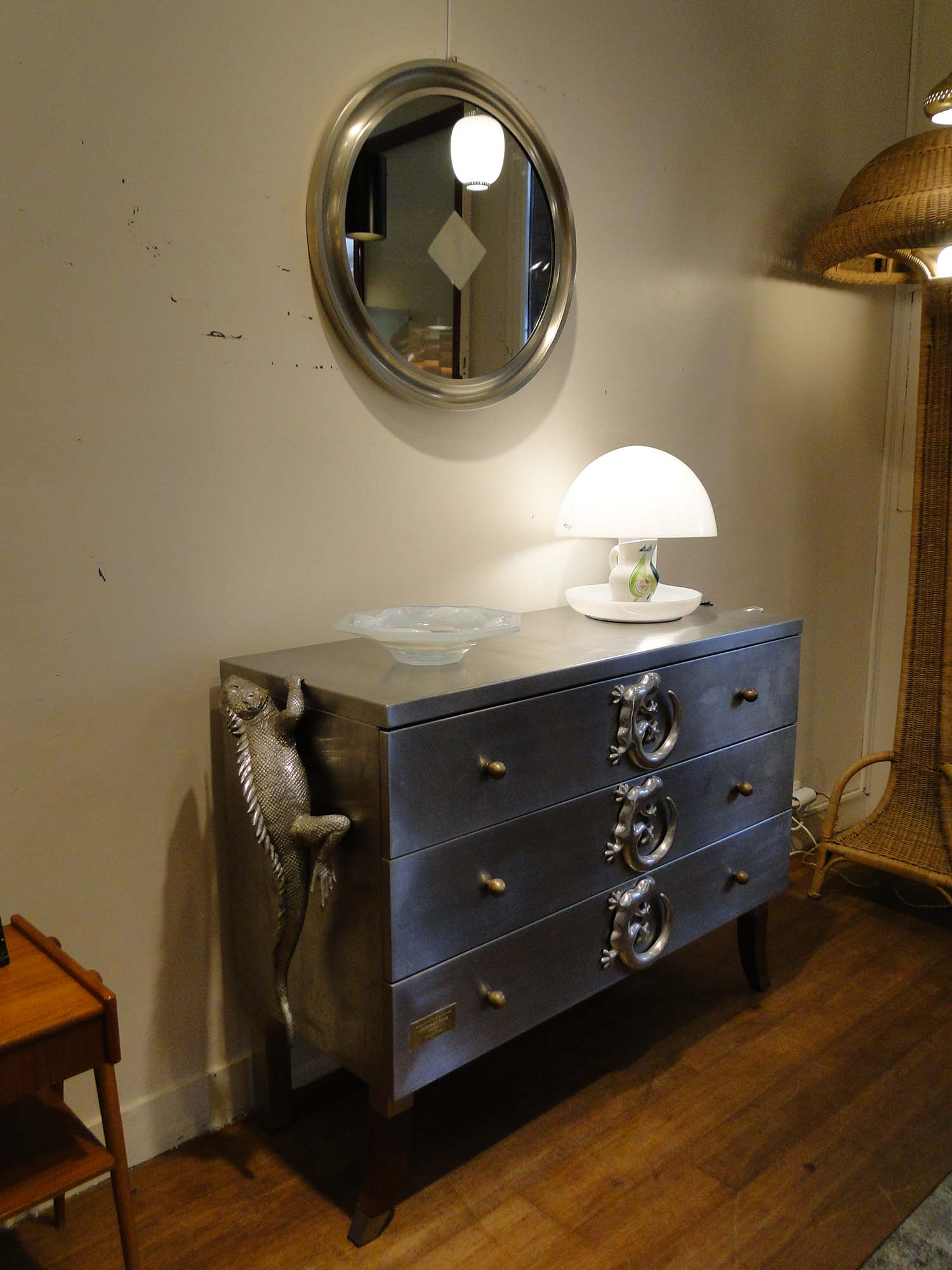 Commode vintage en inox Christian Maas France KUBENKA